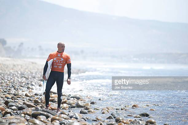 Kelly Slater of USA exits the water after his heat in the round of 96 during the Oakley Lower's Pro at Lower Trestles on April 30 2015 in San...