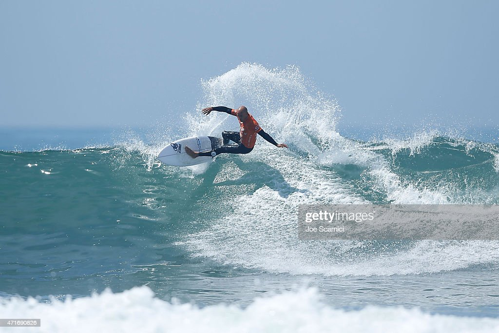 Kelly Slater of USA surfing in the round of 96 during the Oakley Lower's Pro at Lower Trestles on April 30 2015 in San Clemente California