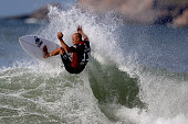 Kelly Slater surfs during Round 3 at the Oi Rio Pro on May 15 2015 in Rio de Janeiro Brazil