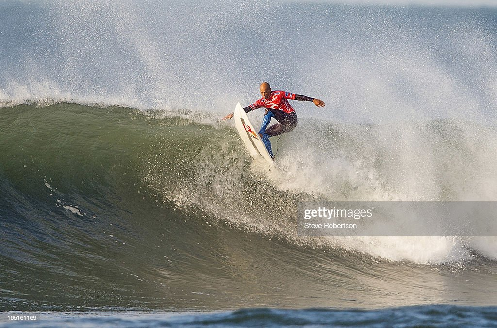 <a gi-track='captionPersonalityLinkClicked' href=/galleries/search?phrase=Kelly+Slater&family=editorial&specificpeople=207101 ng-click='$event.stopPropagation()'>Kelly Slater</a> , the current ASP World Champion, was a huge shock elimination at Bells Beach today in round three at the Rip Curl Pro. on April 1, 2013 in Bells Beach, Australia.