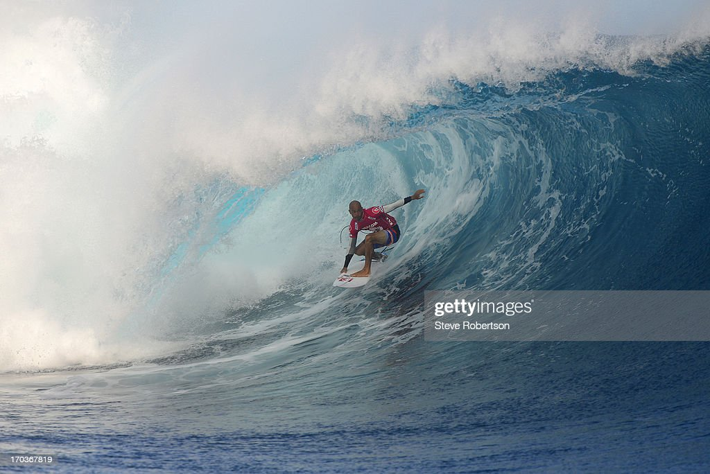 <a gi-track='captionPersonalityLinkClicked' href=/galleries/search?phrase=Kelly+Slater&family=editorial&specificpeople=207101 ng-click='$event.stopPropagation()'>Kelly Slater</a> winner of the Volcom Pro Fiji today where he defeated Mick Fanning of Australia in outstanding surf. Slater is back as the world rankings leader for 2013 on June 12, 2013 in Tavarua, Fiji.