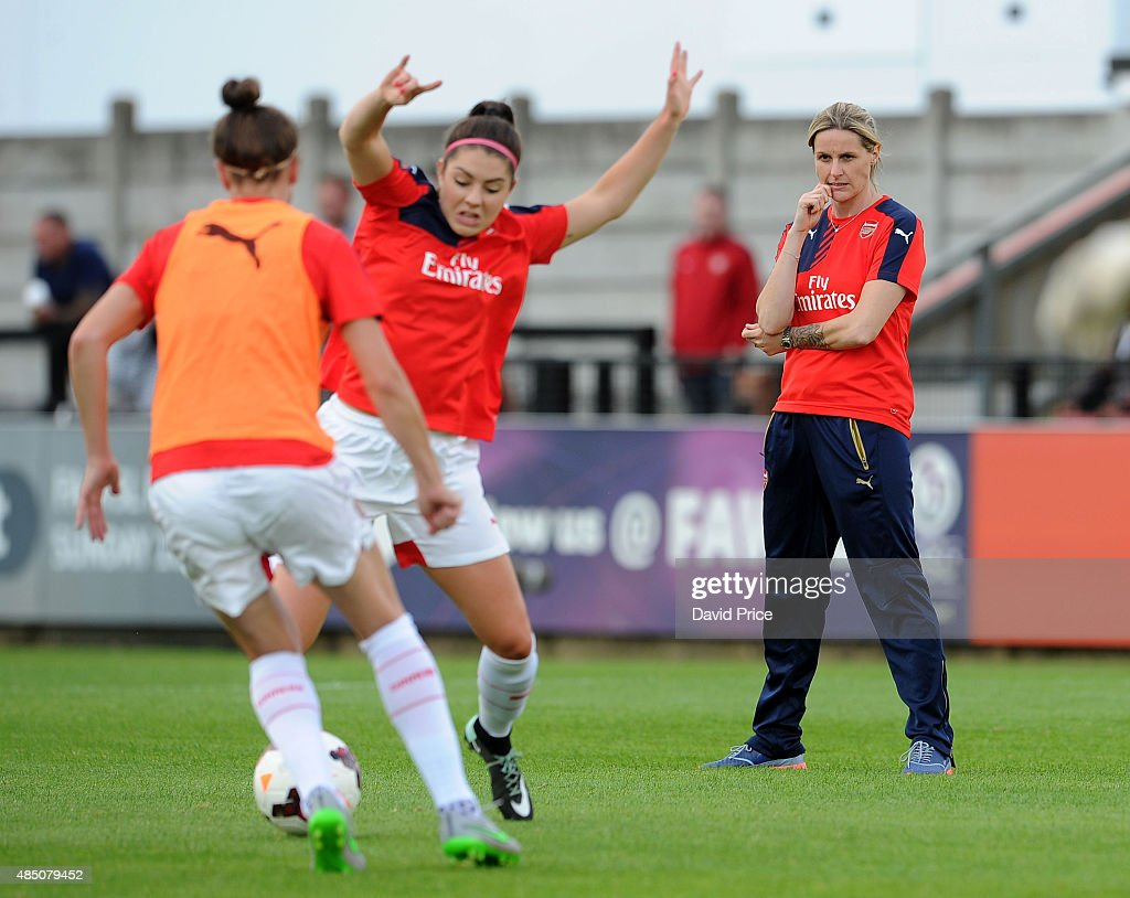 Kelly Smith Arsenal Ladies player coach looks on before the match between Arsenal Ladies and Chelsea Ladies at Meadow Park on August 23, 2015 in Borehamwood, England.