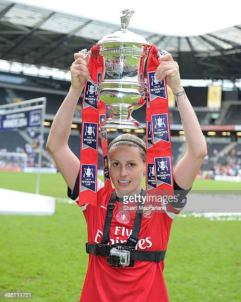 Kelly Smith celebrates after Arsenal Ladies win the FA Cup after them match at Stadium mk on June 1 2014 in Milton Keynes England