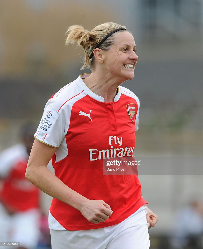 Kelly Smith celebrates scoring Arsenal Ladies 1st goal during the match between Arsenal Ladies and Notts County Ladies at Meadow Park on April 3, 2016 in Borehamwood, England.