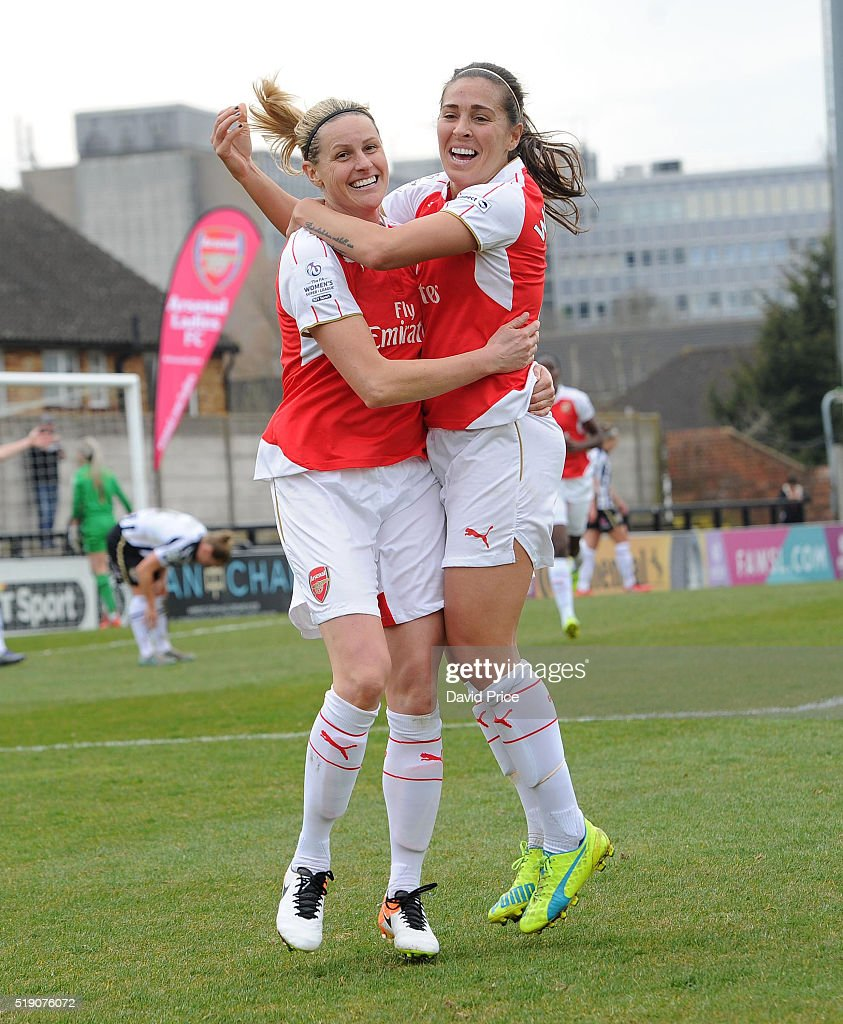 Kelly Smith celebrates scoring Arsenal Ladies 1st goal with Fara Williams during the match between Arsenal Ladies and Notts County Ladies at Meadow Park on April 3, 2016 in Borehamwood, England.