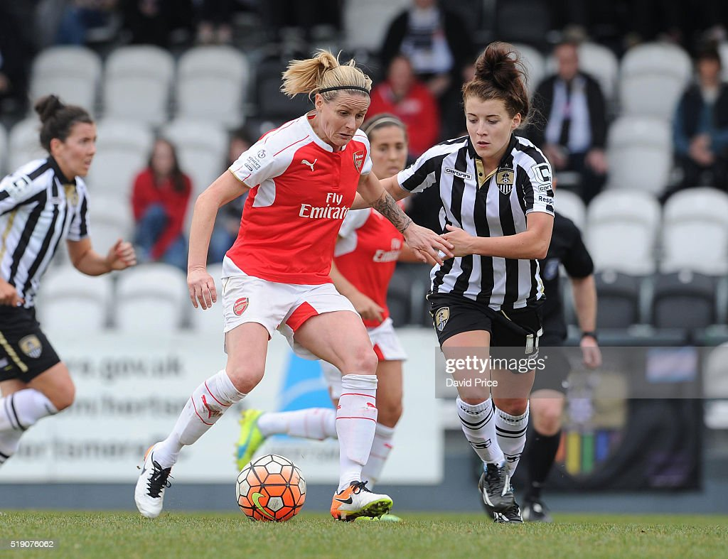 Kelly Smith of Arsenal Ladies takes on Angharad James of Notts County during the match between Arsenal Ladies and Notts County Ladies at Meadow Park on April 3, 2016 in Borehamwood, England.