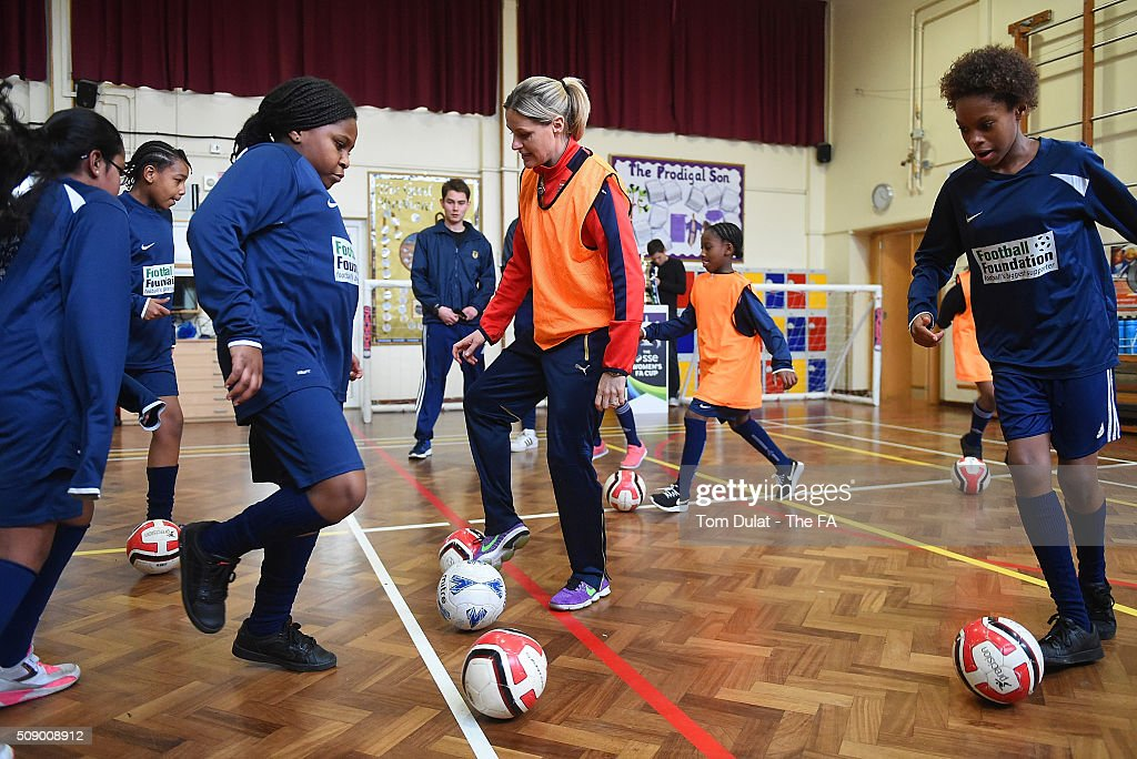 Kelly Smith of Arsenal Ladies takes part in activities during the SSE Women's FA Cup Draw on February 8, 2016 in London, England. (Photo by Tom Dulat - The FA/The FA via Getty Images).