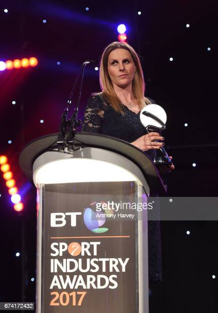 Kelly Smith presents the Event or Competition Sponsorship of the Year award in association with CSM Live to Samsung School of Rio during the BT Sport...