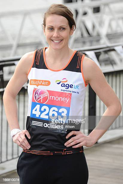 Kelly Sotherton attends a photocall ahead of taking part in the Virgin London Marathon at The Tower Hotel on April 17 2013 in London England