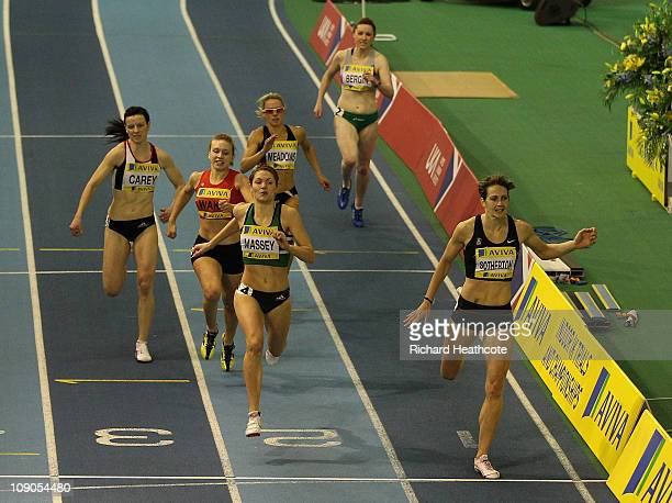 Kelly Sotherton crosses the line to win the Women's 400m final during the AVIVA European Trials UK Championship at the English Insitute for Sport on...
