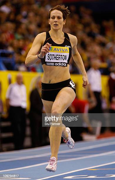Kelly Sotherton in action in the Womens 400 metres final during the AVIVA Grand Prix at the NIA on February 19 2011 in Birmingham England