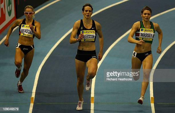 Kelly Sotherton leads Kelly Massey and Jenny Meadows on her way to winning the Women's 400m final during the AVIVA European Trials UK Championship at...