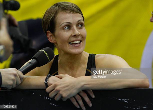 Kelly Sotherton looks on after the Womens 400 metres final during the AVIVA Grand Prix at the NIA on February 19 2011 in Birmingham England