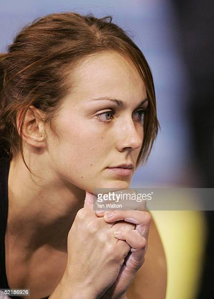 Kelly Sotherton looks on at the women's Shot Put Final during the Norwich Union European Indoor Trials and AAA Championships at the English Institute...