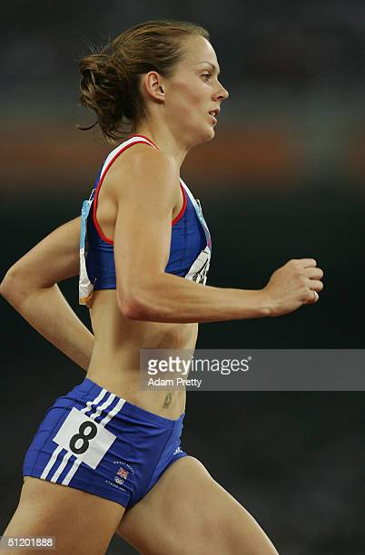 Kelly Sotherton of Great Britain competes in the 800 metre discipline of the women's heptathlon on August 21 2004 during the Athens 2004 Summer...