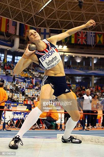 Kelly Sotherton of Great Britain competes in the Womens Shot Put as part of the Women's Pentathlon at the 12th IAAF World Indoor Championships at the...