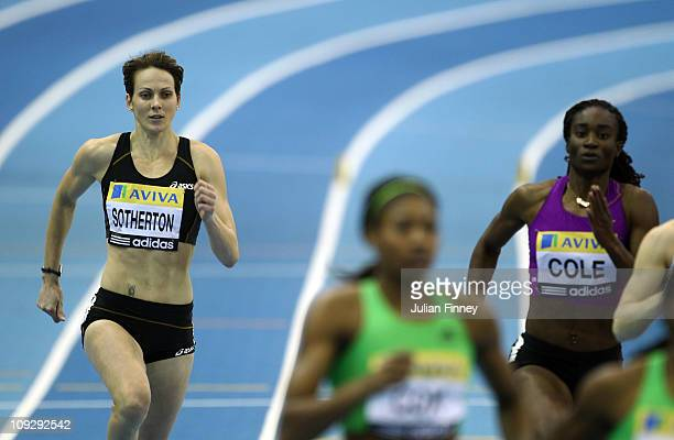 Kelly Sotherton of Great Britain lies last after the 400m during the AVIVA Grand Prix Indoor Athletics on February 19 2011 in Birmingham England