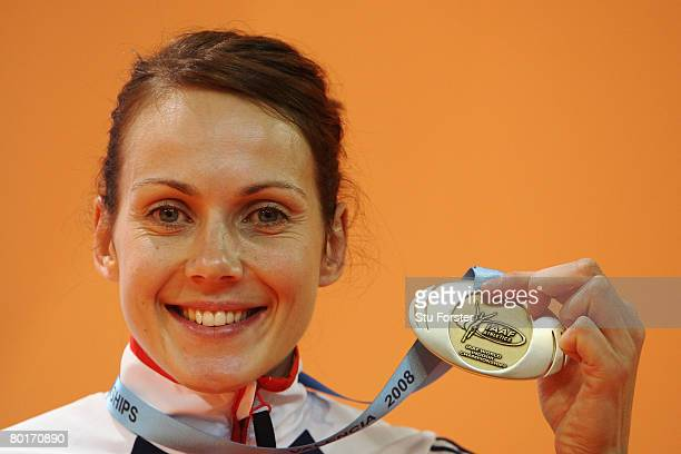 Kelly Sotherton of Great Britain poses with her Silver medal in the Women's Pentathlon during the 12th IAAF World Indoor Championships at the Palau...