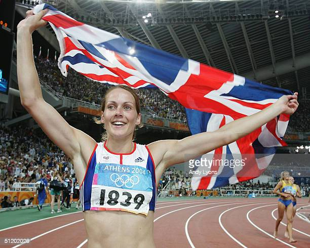 Kelly Sotherton of Great Britain reacts after the 800 metre discipline of the women's heptathlon on August 21 2004 during the Athens 2004 Summer...