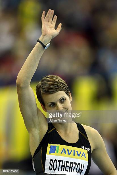 Kelly Sotherton of Great Britain waves to the crowd before the 400m during the AVIVA Grand Prix Indoor Athletics on February 19 2011 in Birmingham...