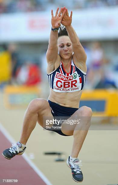 Kelly Sotherton of Great Britian competes in the Women's Long Jump during the Spar European Cup 2006 at the Ciudad de Malaga Athletics Stadium on...