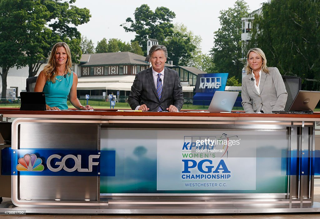 Kelly Tilghman, <a gi-track='captionPersonalityLinkClicked' href=/galleries/search?phrase=Brandel+Chamblee&family=editorial&specificpeople=3431577 ng-click='$event.stopPropagation()'>Brandel Chamblee</a> and <a gi-track='captionPersonalityLinkClicked' href=/galleries/search?phrase=Karen+Stupples&family=editorial&specificpeople=208952 ng-click='$event.stopPropagation()'>Karen Stupples</a> pose together on the Golf Channel set during the first round of the KPMG Women's PGA Championship on the West Course at the Westchester Country Club on June 11, 2015 in Harrison, New York. (Photo by Scott Halleran/Getty Images for KPMG).
