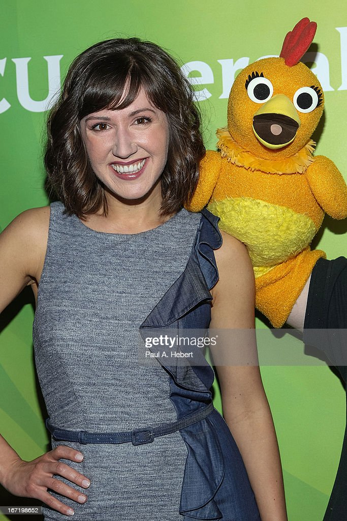 Kelly Vrooman and Chica the Chicken attend the 2013 NBCUniversal Summer Press Day held at The Langham Huntington Hotel and Spa on April 22, 2013 in Pasadena, California.