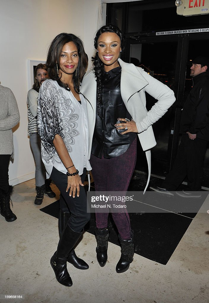 Kelly Walton and Jennifer Hudson attend the Hennessy VS Presents 'The Inevitable Defeat of Mister and Pete' sponsored by Reebok and Blackberry at the Julie Nester Gallery on January 17, 2013 in Park City, Utah.