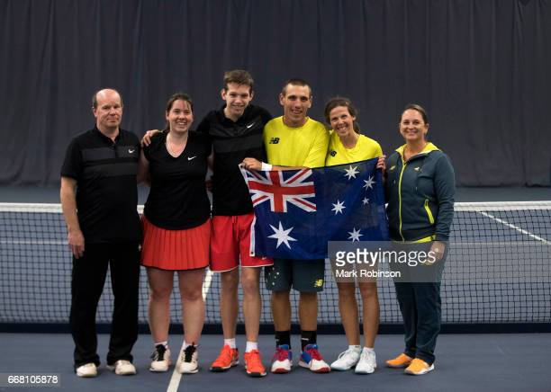 Kelly Wren and Damian Phillips of Australia and Hanne Lavreysen and Jochen Fens of Belgium along with their coaches after their Mixed Doubles Final...