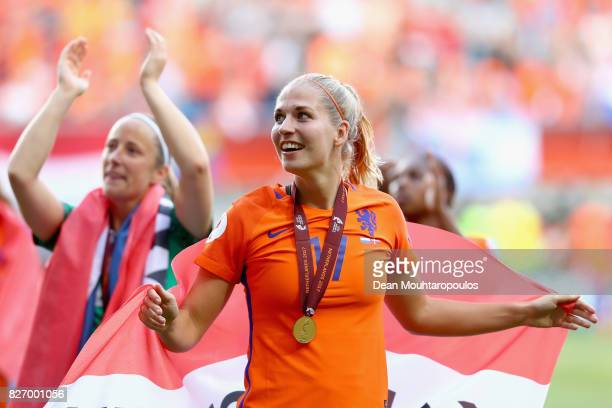 Kelly Zeeman of the Netherlands celebrates following the Final of the UEFA Women's Euro 2017 between Netherlands v Denmark at FC Twente Stadium on...