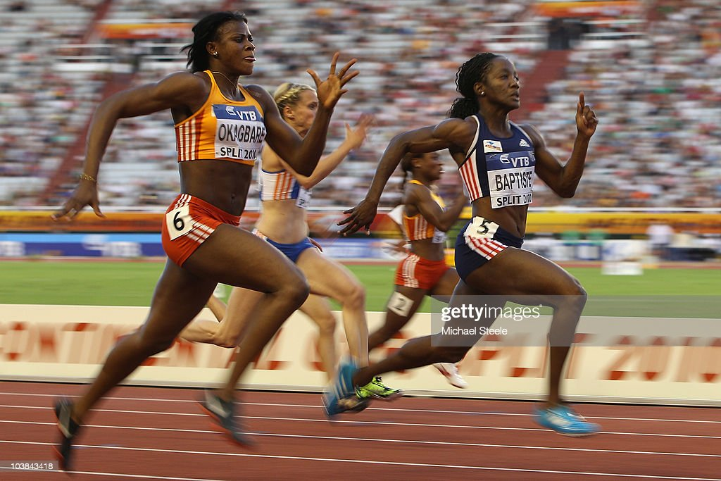 Kelly-Ann Baptiste (r) of Trinidad and Team Americas wins the women's 100m from <a gi-track='captionPersonalityLinkClicked' href=/galleries/search?phrase=Blessing+Okagbare&family=editorial&specificpeople=5496695 ng-click='$event.stopPropagation()'>Blessing Okagbare</a> (l) of Nigeria and Team Africa during the IAAF/VTB Continental Cup at the Stadion Poljud on September 4, 2010 in Split, Croatia.
