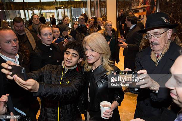 Kellyanne Conway a senior advisor to PresidentElect Donald Trump poses for selfies at Trump Tower on November 21 2016 in New York City Presidentelect...