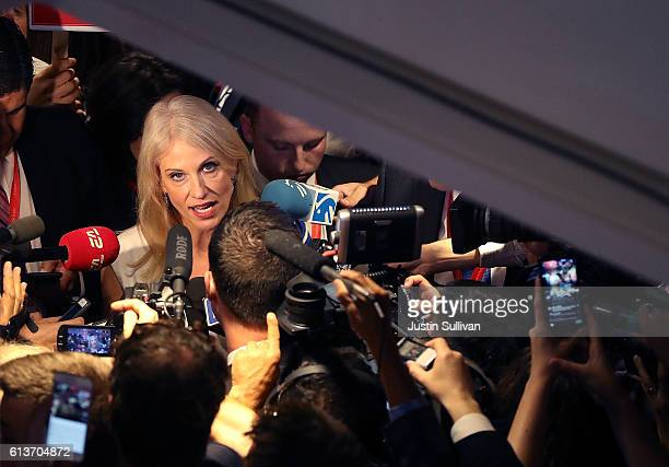 Kellyanne Conway campaign manager for the Donald Trump campaign talks with reporters in the spin room following the second presidential debate with...