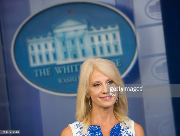 Kellyanne Conway Counselor to President Donald Trump poses for a photograph during an interview at the White House on August 3 2017 in Washington DC