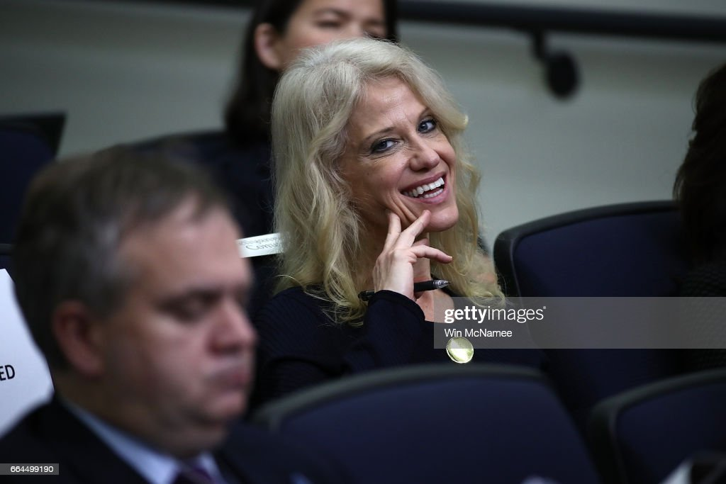 Kellyanne Conway, counselor to U.S. President Donald Trump, attends an event at the Eisenhower Executive Office Building April 4, 2017 in Washington, DC. U.S. President Donald Trump also delivered remarks and answered questions from the audience during a town hall event with CEO's on the American business climate.
