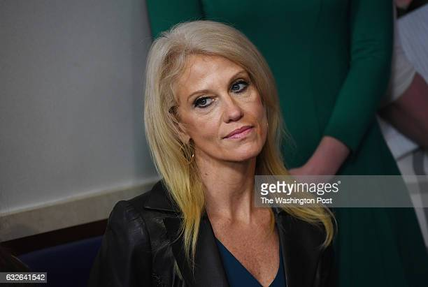 Kellyanne Conway is seen as White House Press Secretary Sean Spicer speaks at a press briefing at the White House on Tuesday January 24 2017 in...