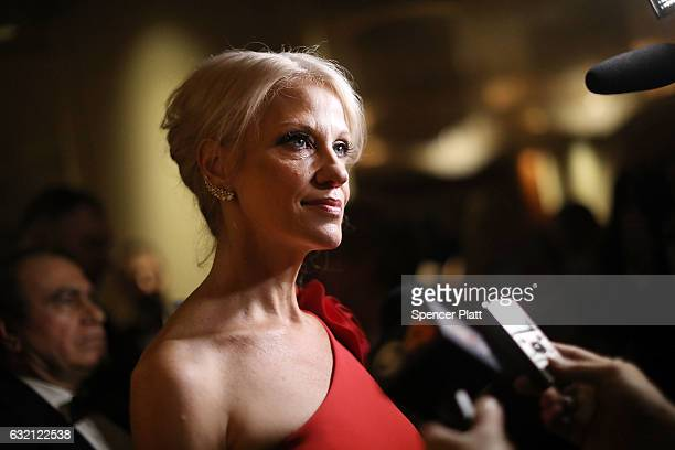 Kellyanne Conway senior adviser to Presidentelect Donald Trump attends the Indiana Society Ball in honor of Vice Presidentelect Mike Pence on January...