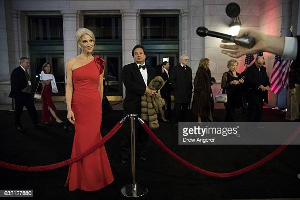 Kellyanne Conway senior advisor to Presidentelect Donald Trump speaks to reporters as she arrives at Union Station for a dinner for campaign donors...