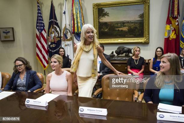 Kellyanne Conway senior advisor to US President Donald Trump center arrives as Ivanka Trump assistant to US President Donald Trump second left smiles...
