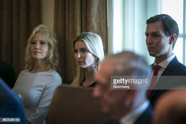 Kellyanne Conway senior advisor to US President Donald Trump from left Ivanka Trump assistant to US President Donald Trump and Jared Kushner senior...