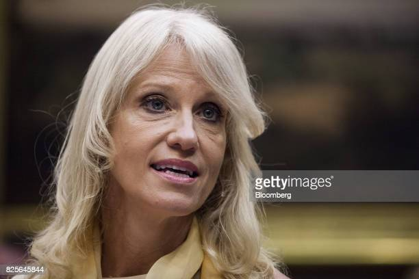 Kellyanne Conway senior advisor to US President Donald Trump speaks during a meeting with military spouses in the Roosevelt Room of the White House...