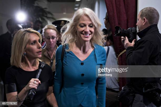 Kellyanne Conway senior advisor to US President Donald Trump walks away from a House Republican meeting at the US Capitol in Washington DC US on...