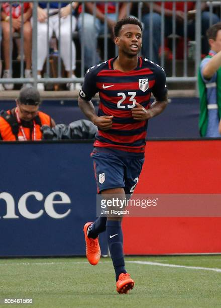 Kellyn Acosta of the United States runs in to position after his goal in the second half during an international friendly between USA and Ghana at...