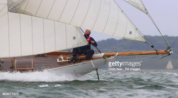 Kelpie races upwind while competing in the British Classic Yacht Club regatta on The Solent near Cowes Isle of Wight