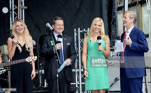 Kelsea Ballerini Ed Henry Anna Kooiman and Steve Doocy speak on stage during 'FOX Friends' All American Concert Series outside of FOX Studios on July...