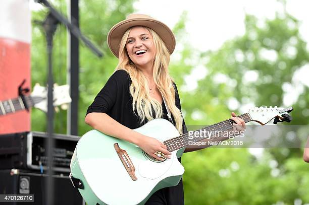Kelsea Ballerini performs onstage during the ACM Party For A Cause Festival at Globe Life Park in Arlington on April 17 2015 in Arlington Texas