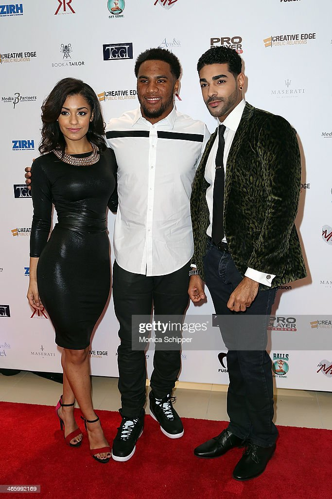 Kelsey Adams, T. J. Ward and Chavis Aaron attend the 7th Annual Music Meets Fashion Event on January 30, 2014 in New York City.