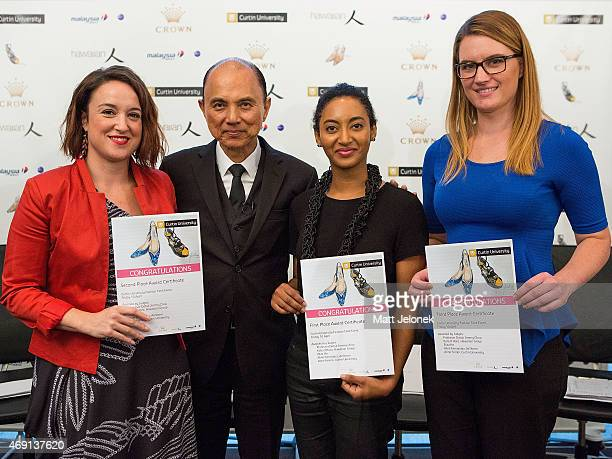 Kelsey Ashe Professor Datuk Jimmy Choo Mallory MadukaIke and Chanelle Gibbs with their first second and third place certificates at Fashion TankPerth...