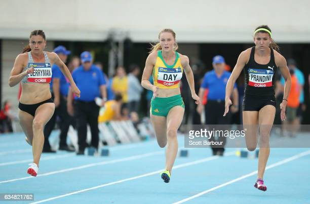 Kelsey Berryman of New Zealand Riley Day of Australia and Jenna Prandini of the United States compete in the Womens 60 Metre Race during the...