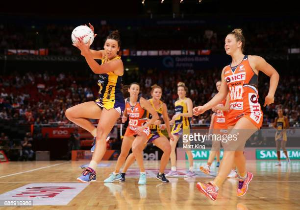 Kelsey Browne of the Lightning catches the ball during the round 14 Super Netball match between the Giants and the Lightning at Qudos Bank Arena on...